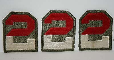 WWII Lot of 3 Cut-Edge No-Glow US 2nd Army Shoulder Patch Snowy Back US Military