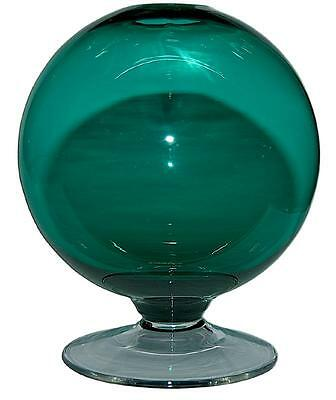 """Morgantown Stiegel Green #64 Coventry Large  7"""" Ivy or Witch Ball Vase - Scarce"""