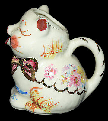 Shawnee Puss N Boots Cream Pitcher with Gold and Hand Painted Bows - Vintage