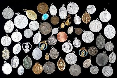 Lot of 55 Vintage Religious Medals St. Benedict, Gerard, Jude Patrick Miraculous