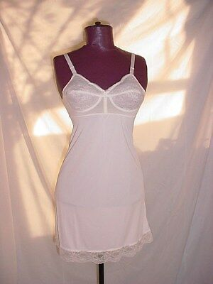 Vtg Warners Bullet Bra Full Slip 34 B White with Lace