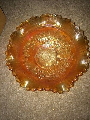 "Imperial Windmill  Marigold Carnival Glass 8"" Ruffled Bowl"
