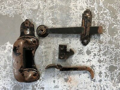 Vintage heavy gate door barn thumb latch old complete 7 pieces