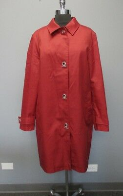BURBERRY Burnt Red Wool Long Sleeves Solid Button In Lining Coat Sz 14 EE0991