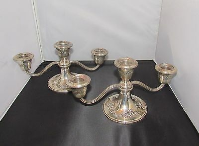 Gorham Sterling Silver Victorian-Chased Pair of Small 3 Light Candelabra 872