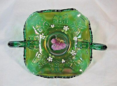 "Fenton Art Glass Emerald Green Hand Painted ""butterflies"" Bon Bon"