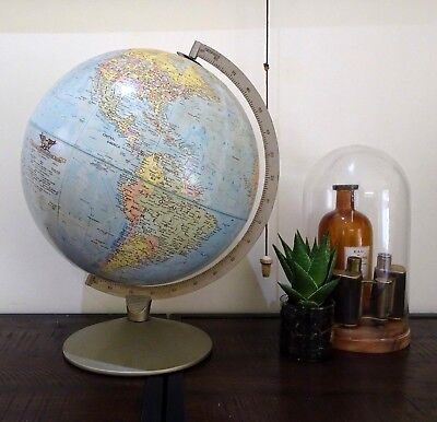 Large Vintage Replogle 12 Inch World Map Globe Made in USA 1960's