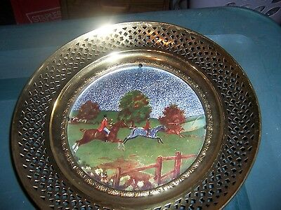 VINTAGE Solid Brass Foil Hunting Picture Hanging Plate-MADE IN ENGLAND