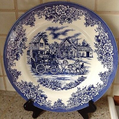 """New Royal Stafford  Hayride Decorative Blue And White 11"""" Plate Made In England"""
