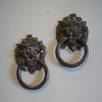 Antique Victorian PAIR Ornate Brass Bronze Drawer Pull Handle LION Tiger Gothic