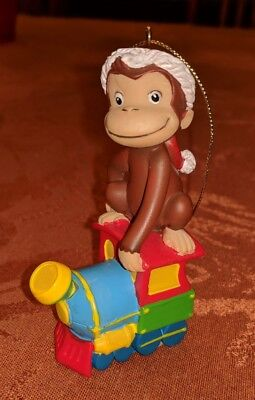 Curious George Monkey Holiday Christmas Ornament RIDING TRAIN UNIVERSAL STUDIOS