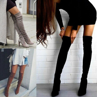Women Over the Knee Boots Long Stretch Thigh Boots High Heel Slouch Shoes Pumps