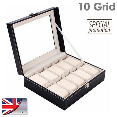 10 Grid Leather Watch Case Storage Display Box Organiser 10 Grids Glass Top