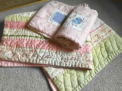 Mothercare Stunning Quilted Pink Cot Quilt and Next Bumper