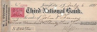 Jersey City, New Jersey Antique Check  Third National Bank 1899  W/revenue