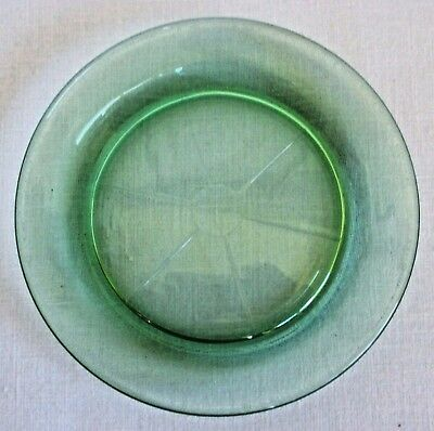 Green Vaseline Depression Glass Coaster