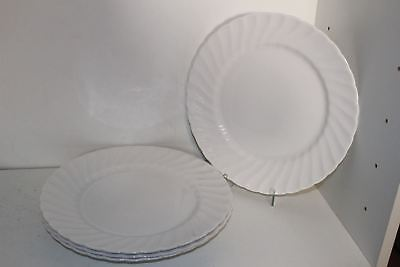"4 Vintage Royal Tuscan Whitecliffe Fine Bone China 10-1/2"" Dinner Plates-England"