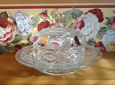 Fancy elegant antique glass butter dish dome top Eyewinker
