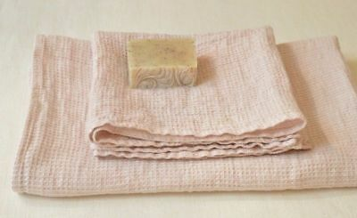 SOFT 100% Pure LINEN Pale Pink Waffle TOWELS SET 1 Bath +1 Hand  Made in Europe