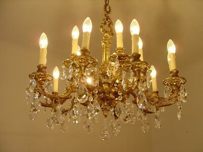 Heavy Spanish 15 Light Brass Crystal Chandelier Old Antique