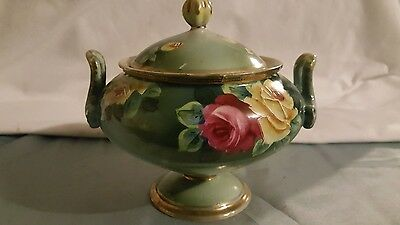 Vintage Nippon Covered Sugar Dual Handle Hand Painted Roses Excellent