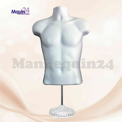 WHITE MANNEQUIN - MALE TORSO DRESS BODY FORM  with 1 STAND + 1 HOOK HANGER