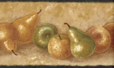 Traditional Abundance of Fruits Wallpaper Border Pear Country Kitchen Wall Decor
