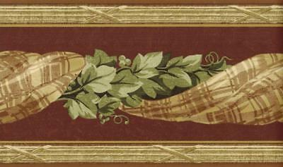 Victorian Classic Plaid Swag with Ivy Vintage art Wallpaper Border Wall Decor