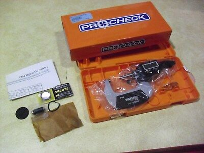"""Pro Check 1""""-2""""  0.00005"""" Electronic Digital Micrometer # EM12505IP5 Sold As Is"""