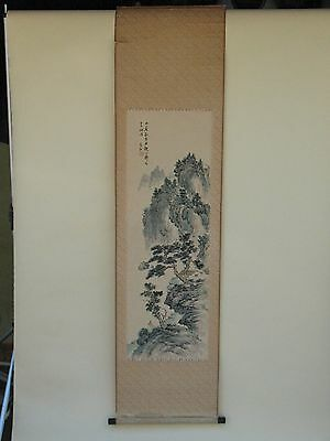 old Estate Chinese Japanese ink PAINTING landscape Artist signed art Scroll 20c