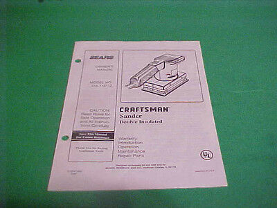 1995 Sears Craftsman Owners Manual Sander Double Insulated Model 315.116112