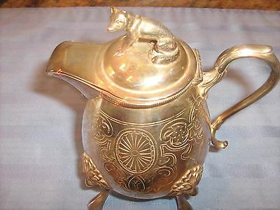ANTIQUE SILVER PLATED CREAMER WITH Adorable FOX ON TOP OF LID
