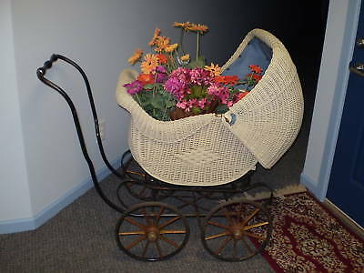 Antique Wicker Baby Carriage/Buggy-The National Co.