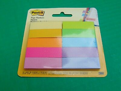 POST-IT Page Markers Signets (((NEW))) 10 Colors & Pads 50 Sheets Each 670-10AB