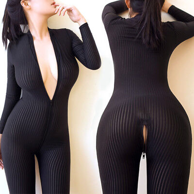Hoch Elastisch Striped Bodystocking Overall Body Suit Langarm 2-way zipper