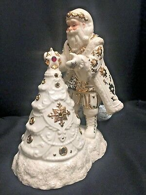 Lenox Florentine And Pearl Jeweled Santa With Lit Tree New In Box #6238349