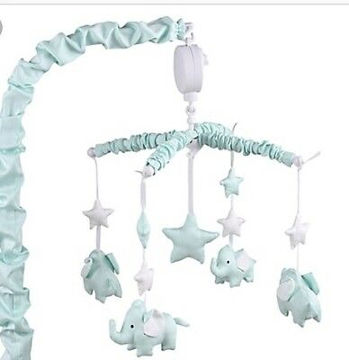 Mint Green Baby Crib Musical Mobile Elephants Clouds Stars The Peanut Shell