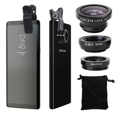 Fish Eye+Wide Angle+Macro Camera Clip-on Lens for Samsung Galaxy Note 8 S8/Plus