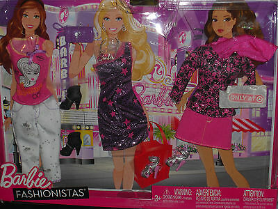 2011 Barbie Fashionistas Target Exclusive Set Of 3 Casual Fashions #w9569