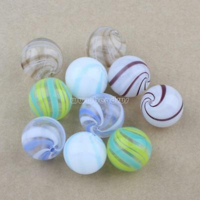 Wholesale 10pcs 20mm Round Handmade Lampwork Glass Charm Beads Jewelry Findings