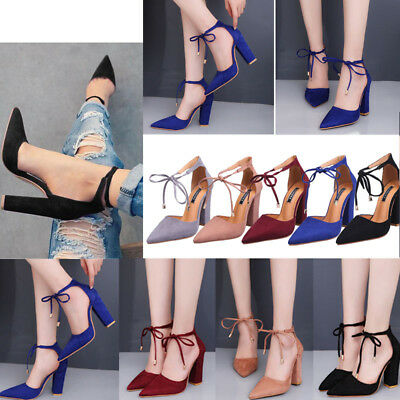 Women Ladies Ankle Strappy Pumps Block High Heel Shoes Office Party Work Sandals