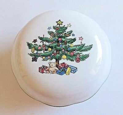 """NIkko Christmastime Candy Nuts BonBon Dish with Lid Round 4"""" Diameter"""