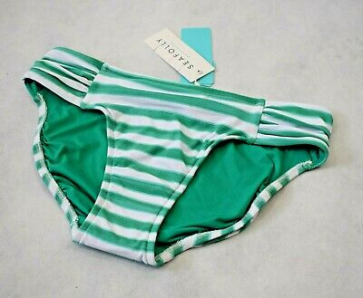 Seafolly Seaview Separates Ruched Side Bikini Brief in Envy - UK 10 (R148)
