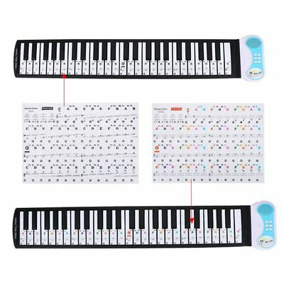 PVC Removable Piano Keyboard Music Note Stickers (for 66/88 keys) Black/Colored