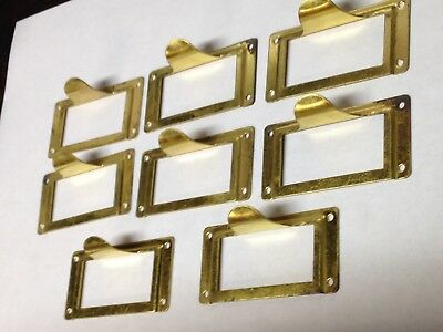8 Vintage Brass File Cabinet Label Holder Drawer Pull Parts