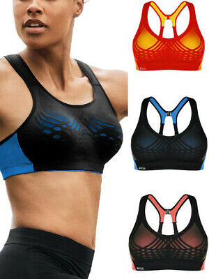 Shock Absorber Sports Bra Ultimate Fly S02Y3 Non Wired High Impact Black/Coral