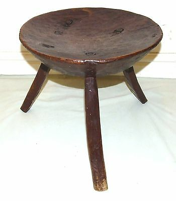 Antique 18th Century Primitive Ash / Elm Milking Stool / Dairy Stool