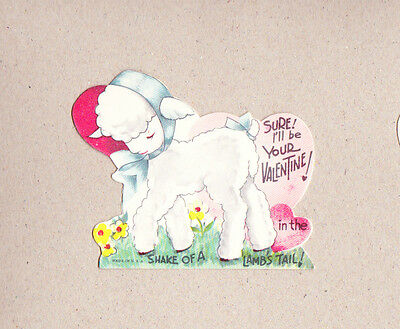 Vintage NOS Double-Glo 1940s Valentine Shy Lamb In The Shake Of A Lamb's Tail