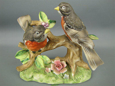 Porcelain 2 Perched Forest Robin Birds Figurine 44/208