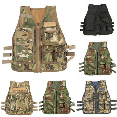 Kids Tactical Vest Army Camouflage Military Protective Waistcoat Outdoor Sport